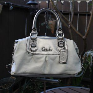 Coach White & Silver Leather Satchel Ashely F15445